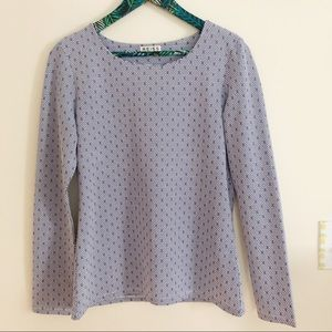 Reiss Blue White Patterned Long Sleeve Top Medium